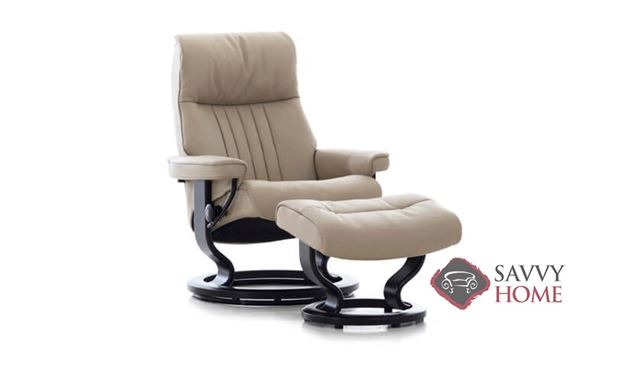 Crown Medium Leather Recliner and Ottoman by Stressless