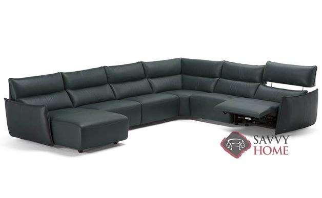 Amusa Power Reclining Leather True Sectional by Natuzzi Editions (C027-450/291/011/291/291/049)