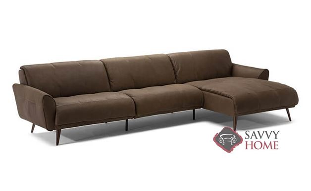 Arno Leather Chaise Sectional by Natuzzi Editions (B993-018/019/047/049)
