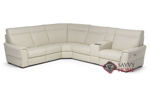 Topino Power Reclining Leather True Sectional with Console by Natuzzi Editions (C046-514/638/029/638/323/515)