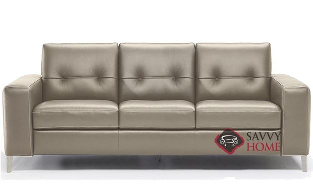 Po (B883-266) Queen Leather Sleeper Sofa by Natuzzi Editions with Greenplus Foam Mattress in Le Mans Seashell