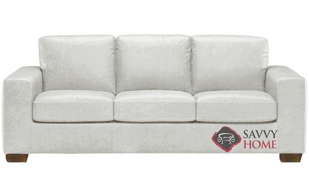 B534 Natuzzi Queen Sleeper Sofa in Urban White