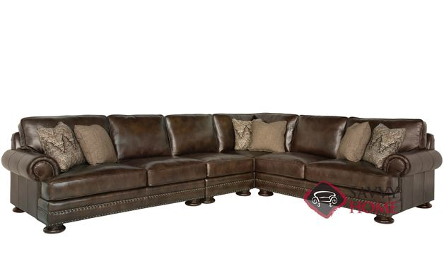 Foster Leather True Sectional with Down-Blend Cushions by Bernhardt in 266-220