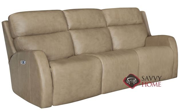 Aaron Power Reclining Leather Sofa with Down-Blend Cushions by Bernhardt in 305-020