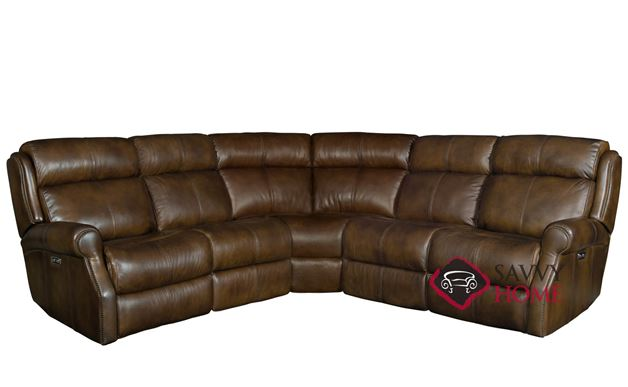 Mcgwire Power Reclining Leather True Sectional Sofa with Down-Blend Cushions by Bernhardt in 232-202