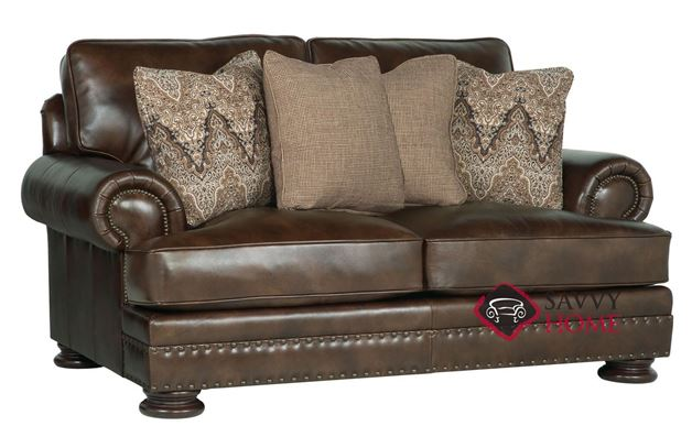 Foster Leather Loveseat with Down-Blend Cushions by Bernhardt in 266-220