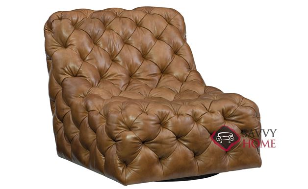 Rigby Leather Swivel Chair with Down-Blend Cushion by Bernhardt in 145-077
