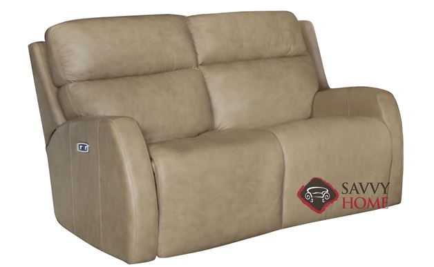 Aaron Power Reclining Leather Loveseat with Down-Blend Cushions by Bernhardt in 305-020