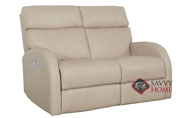 Clemens Power Reclining Leather Loveseat with Down-Blend Cushions by Bernhardt in 305-200