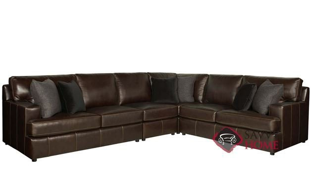 Winslow Leather True Sectional with Down-Blend Cushions by Bernhardt in 266-222