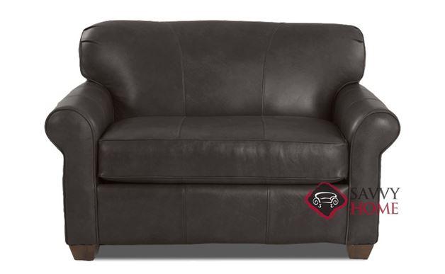 Calgary Leather Chair Sleeper Sofa in Steamboat Charcoal
