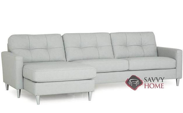 Beech Leather Chaise Sectional Sofa by Palliser (Angle)