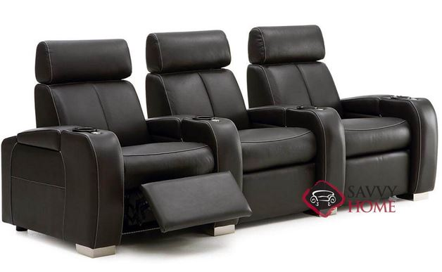 Lemans 3-Seat Leather Power Reclining Home Theater Seating (Straight) with Consoles by Palliser