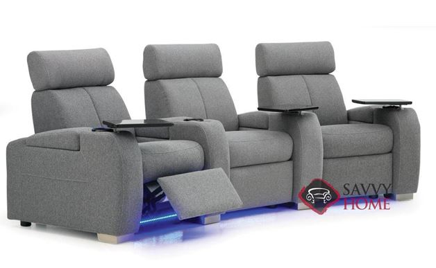 Lemans 3-Seat Power Reclining Home Theater Seating (Curved) with Consoles by Palliser (Optional Lights)