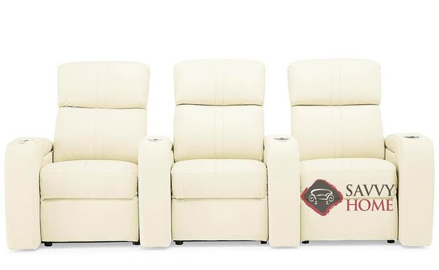 Flicks 3-Seat Leather Power Reclining Home Theater Seating (Straight) with Consoles by Palliser