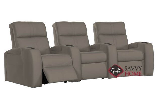 Flicks 3-Seat Leather Power Reclining Home Theater Seating (Curved) with Consoles by Palliser