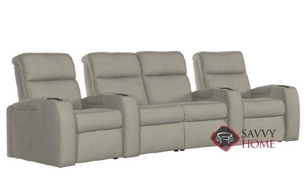 Flicks 4-Seat Leather Power Reclining Home Theater Seating (Curved) with Loveseat and Consoles by Palliser
