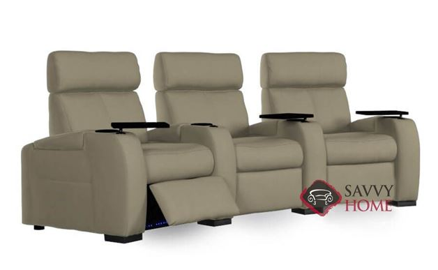 Lemans 3-Seat Leather Power Reclining Home Theater Seating (Curved) with Consoles by Palliser
