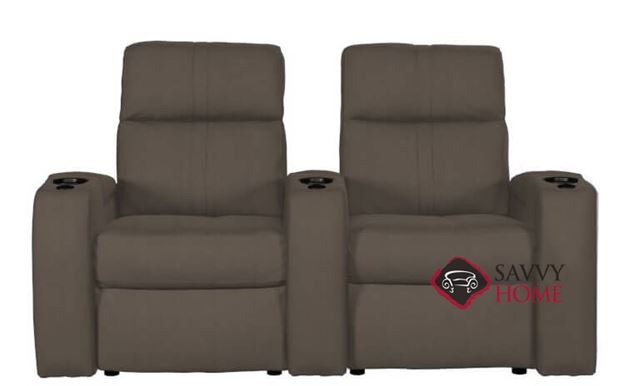 Flicks 2-Seat Leather Power Reclining Home Theater Seating (Straight) with Consoles by Palliser