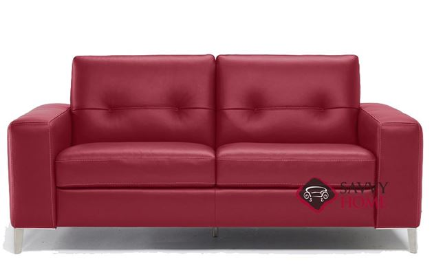 Quick-Ship Po (B883) Leather Sleeper Sofas Full in Denver Red by Natuzzi  with Fast Shipping | SavvyHomeStore.com