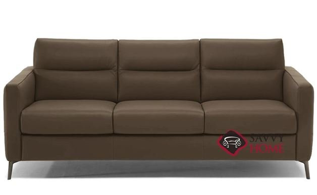 Caffaro (C008-266) Queen Leather Sleeper Sofa by Natuzzi Editions in Neptune Copper Brown