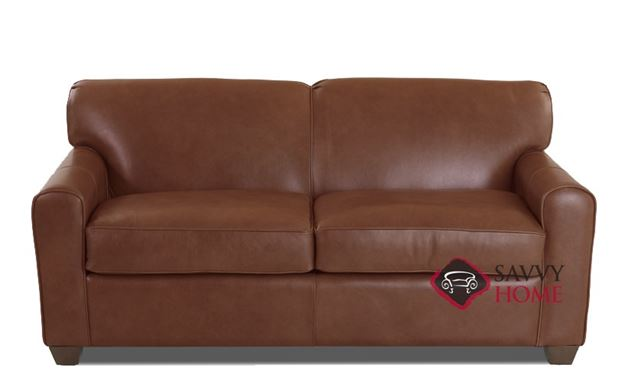 Zurich Full Leather Sleeper Sofa in Aspen Walnut by Savvy