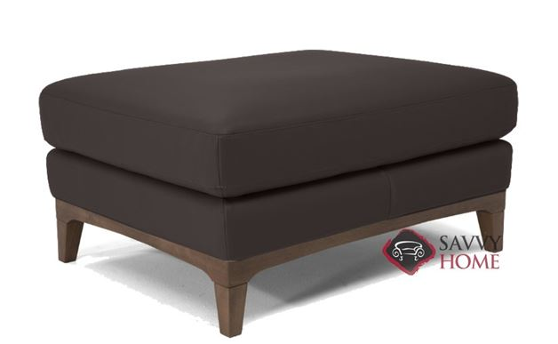 Bevera Leather Ottoman by Natuzzi Editions in Madison Coffee Brown (B970-100)