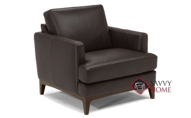 Bevera Leather Chair by Natuzzi Editions in Madison Coffee Brown (B970-003)