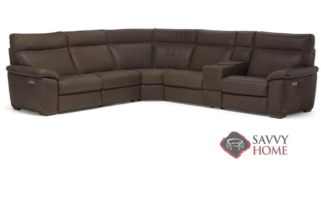 Empatia (C007-272/291/029/291/323/274) Leather True Sectional Sofa with Console by Natuzzi