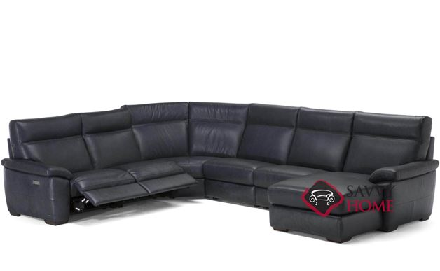 Empatia (C007-047/049/291/291/029/638/514/515) Power Reclining Leather True Sectional Sofa with Chaise by Natuzzi