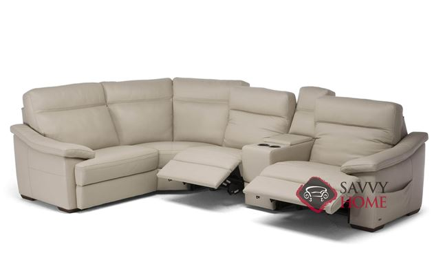 Pazienza (C012-514/515/291/076/323) Power Reclining Leather True Sectional with Console by Natuzzi