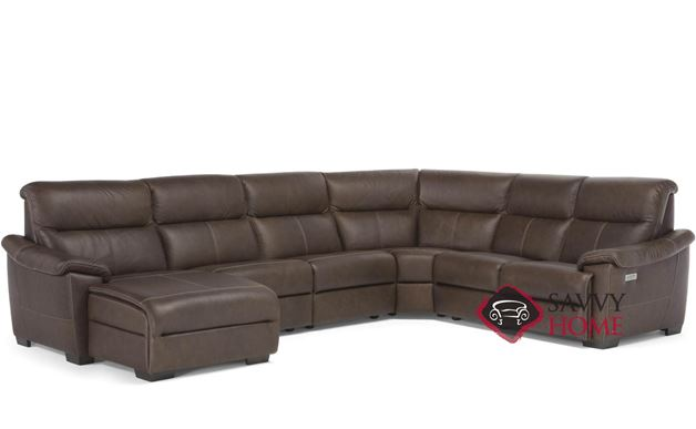 Potenza (C063-188/189/001/001/076/001/N00/N02) Power Reclining Leather True Sectional with Chaise Lounge by Natuzzi