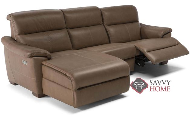 Potenza (C063-188/189/001/N00/N02) Power Reclining Leather Chaise Sectional by Natuzzi