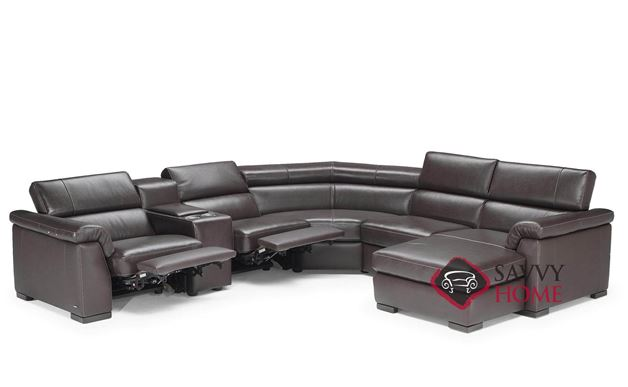 Tommaso (B634-098/099/323/351/076/001/047/049) Leather True Sectional with Chaise and Console by Natuzzi - Power Reclining Option