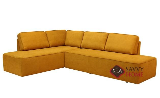 New York Chaise Sectional Queen Leather Sleeper Sofa with Storage by Luonto