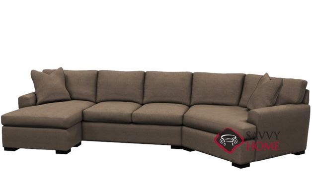 The 390 Curved Sectional Queen Sleeper Sofa by Stanton in Inheritance Latte LAF