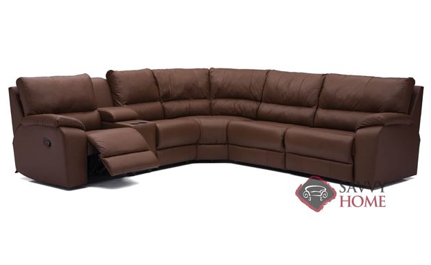 Shields Top-Grain Leather Reclining True Sectional Sofa with Console by Palliser
