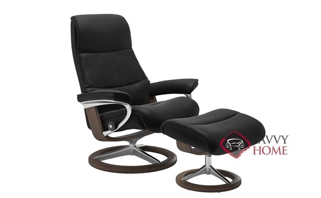 View Large Recliner and Ottoman by Stressless in Paloma Black with Signature Base