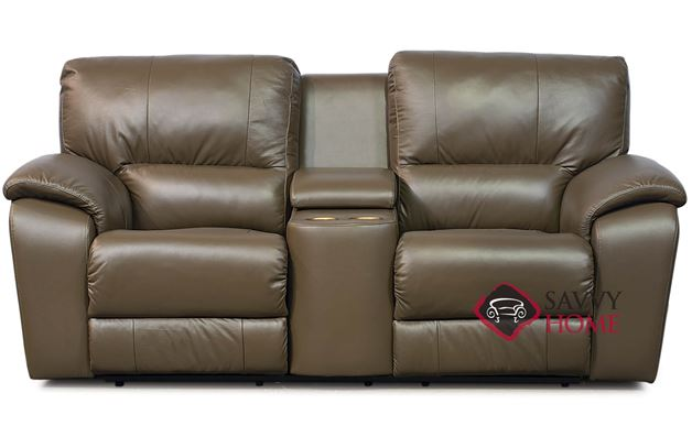 Shields Top-Grain Leather Loveseat with Console by Palliser
