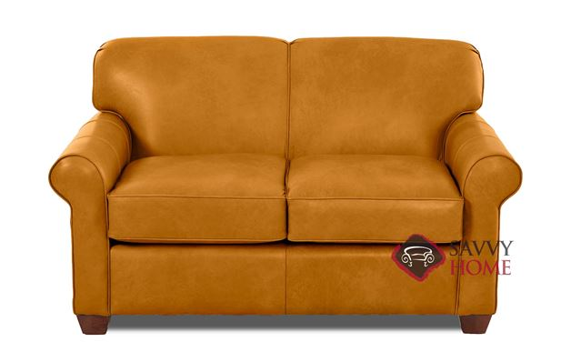 Calgary Leather Twin Sleeper Sofa by Savvy in Bowie Saffron
