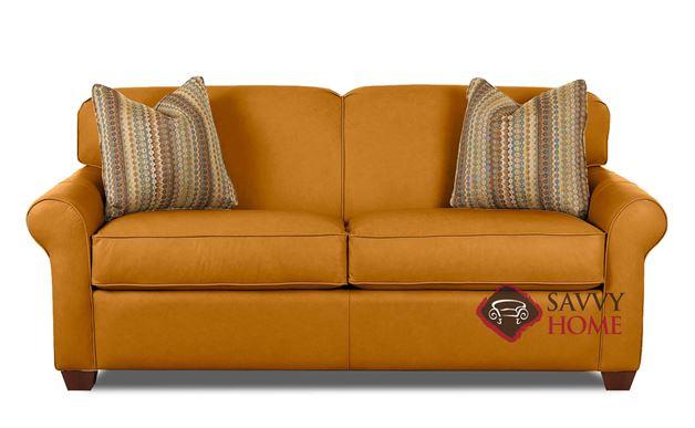 Calgary Leather Full Sleeper Sofa in Bowie Saffron