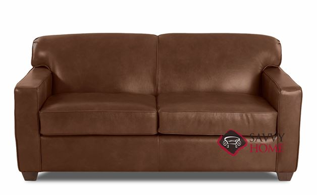 Geneva Full Leather Sleeper Sofa by Savvy in Bronx Sod