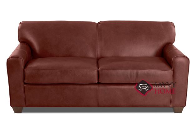 Zurich Full Leather Sleeper Sofa in Steamboat Oxblood by Savvy