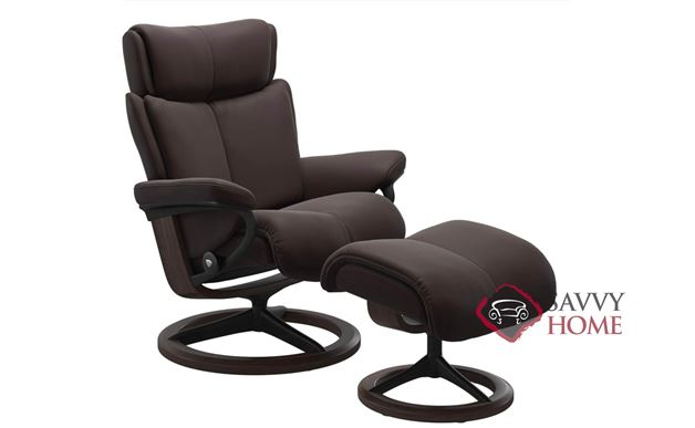 Magic Medium Recliner and Ottoman by Stressless in Paloma Chocolate