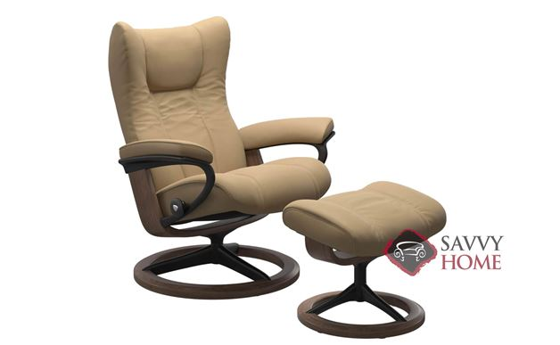 Wing Medium Recliner and Ottoman by Stressless in Paloma Sand