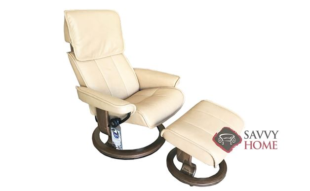 Admiral Medium Recliner and Ottoman by Stressless in Paloma Sand Leather