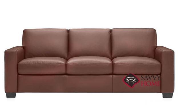 B534 Natuzzi Queen Sleeper Sofa shown in Bari Chestnut