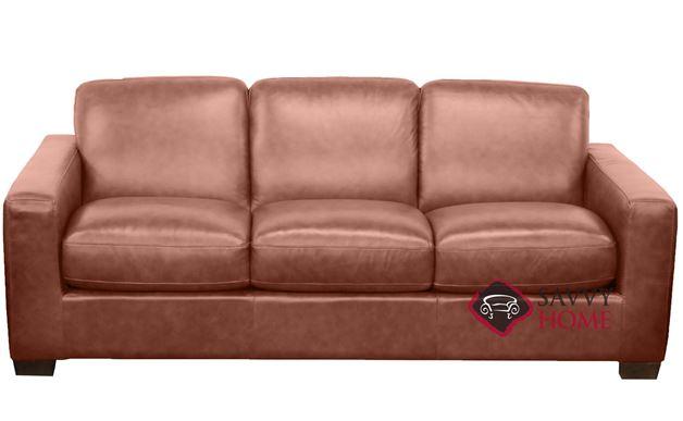 B534 Natuzzi Queen Sleeper Sofa in Rustic Saddle