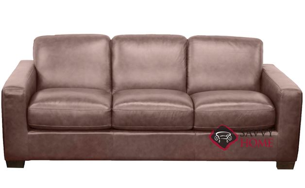 B534 Natuzzi Queen Sleeper Sofa in Rustic Coffee Bean