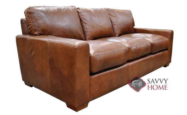 City Craft Queen Leather Sofa Bed by Omnia